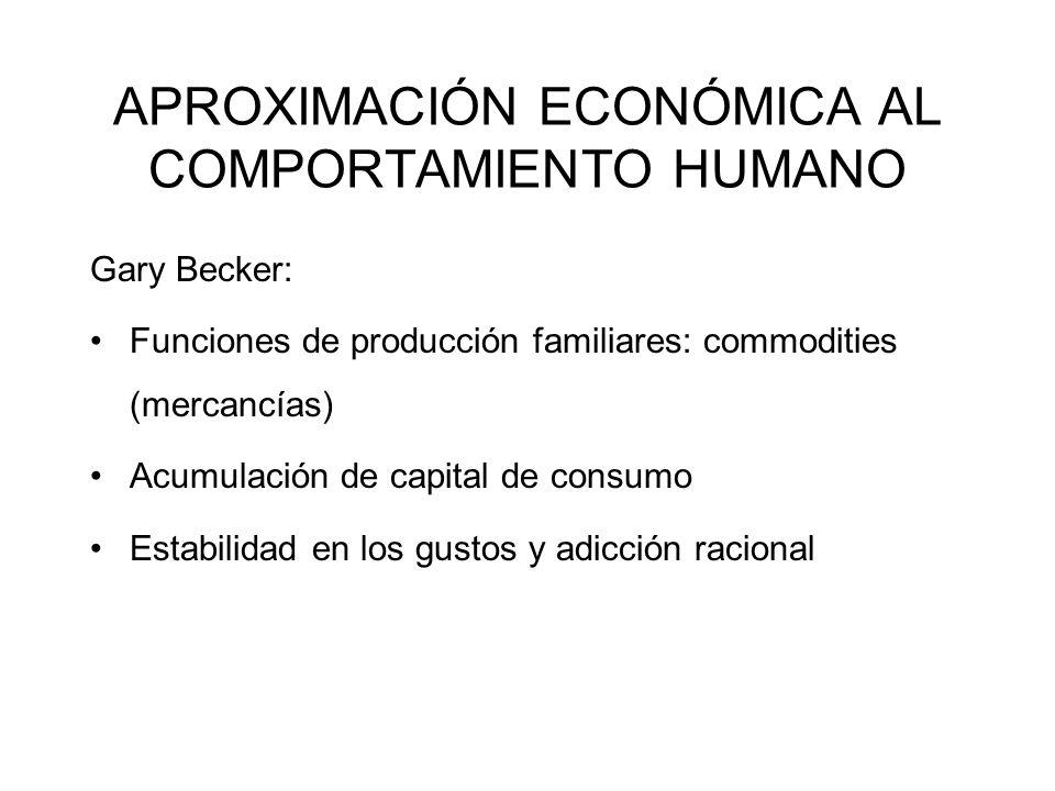 APROXIMACIÓN ECONÓMICA AL COMPORTAMIENTO HUMANO Gary Becker: Funciones de producción familiares: commodities (mercancías) Acumulación de capital de co