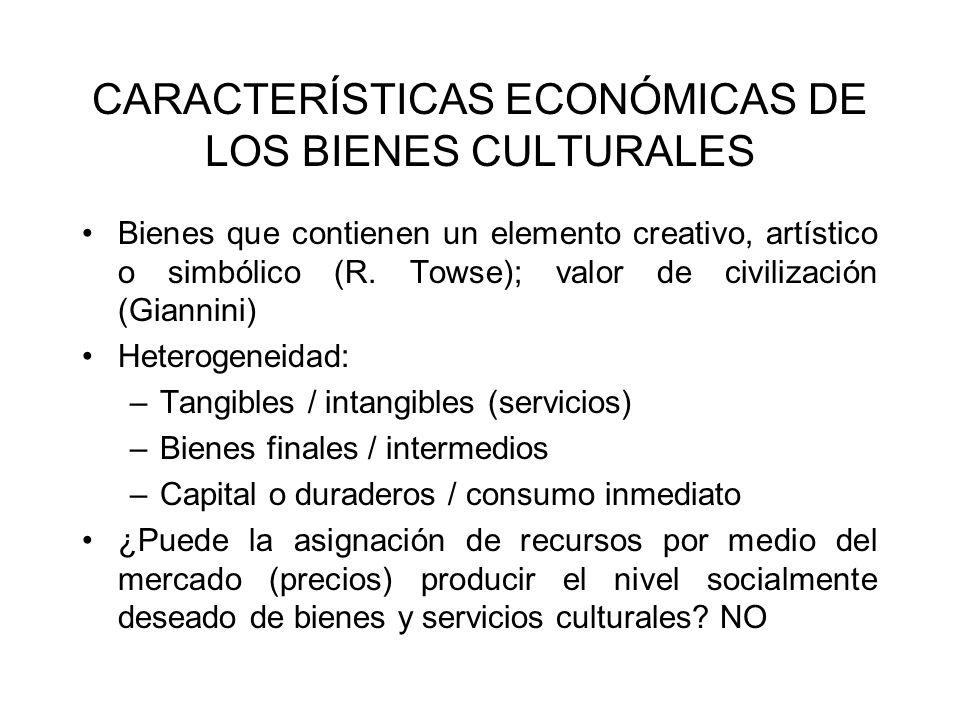 PROVISIÓN ÓPTIMA NO: razones Los bienes culturales tienen, por su naturaleza, características de bienes públicos.