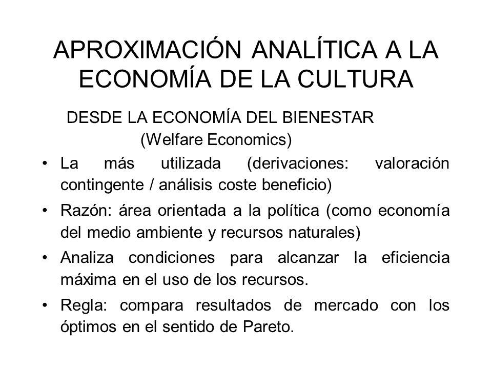 APROXIMACIÓN ANALÍTICA A LA ECONOMÍA DE LA CULTURA DESDE LA ECONOMÍA DEL BIENESTAR (Welfare Economics) La más utilizada (derivaciones: valoración cont