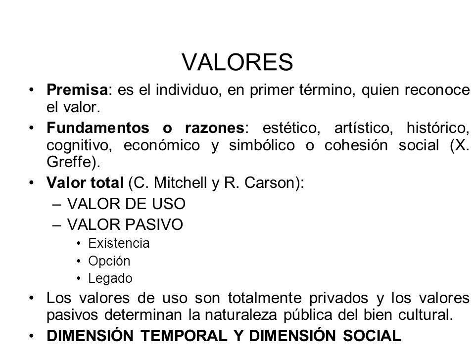 VALORES Premisa: es el individuo, en primer término, quien reconoce el valor. Fundamentos o razones: estético, artístico, histórico, cognitivo, económ