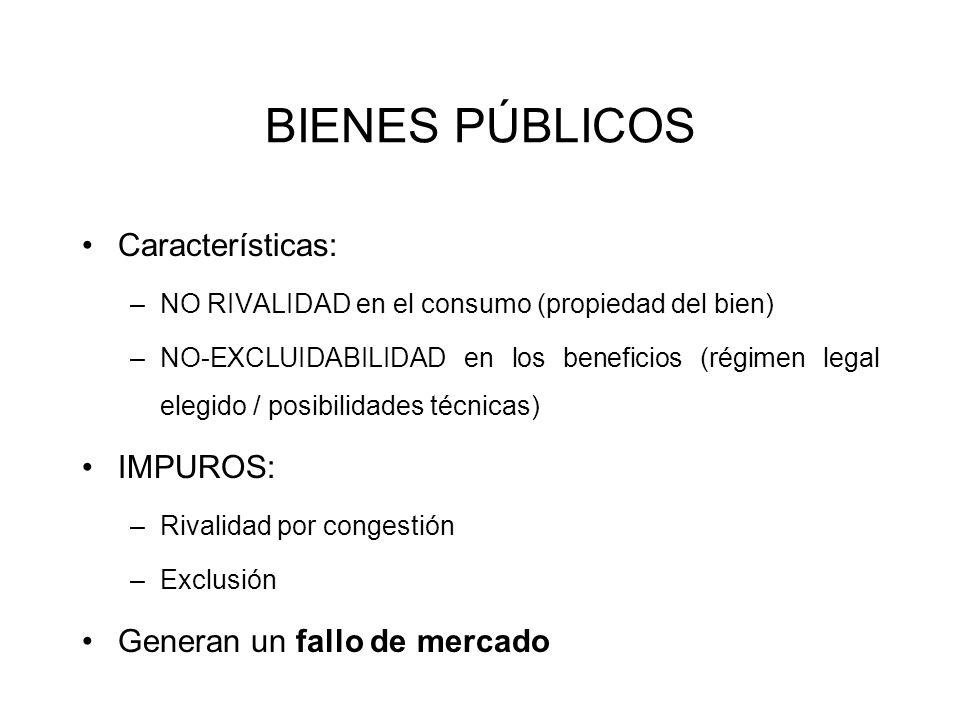 BIENES PÚBLICOS Características: –NO RIVALIDAD en el consumo (propiedad del bien) –NO-EXCLUIDABILIDAD en los beneficios (régimen legal elegido / posib