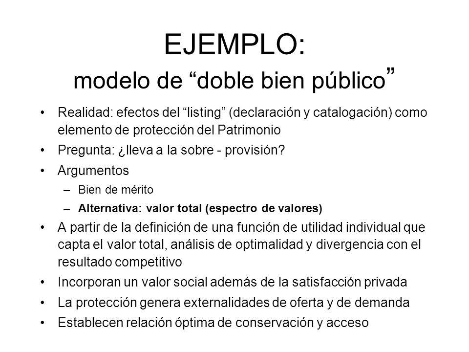 EJEMPLO: modelo de doble bien público Realidad: efectos del listing (declaración y catalogación) como elemento de protección del Patrimonio Pregunta: