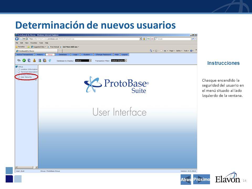 14 Determinación de nuevos usuarios Instrucciones Chasque encendido la seguridad del usuario en el menú situado al lado izquierdo de la ventana.