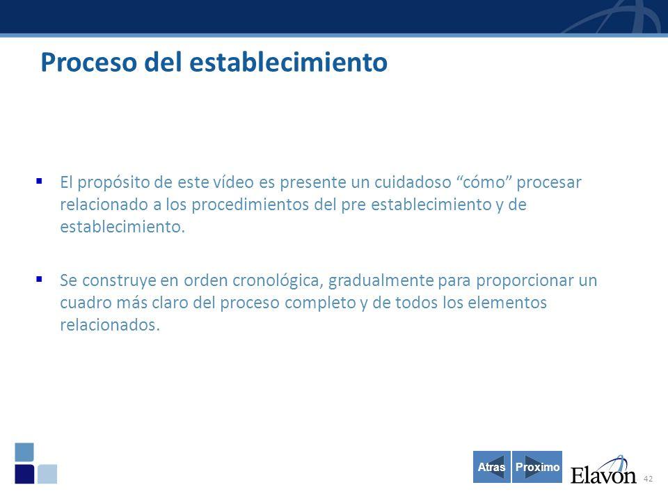 42 Proceso del establecimiento El propósito de este vídeo es presente un cuidadoso cómo procesar relacionado a los procedimientos del pre establecimiento y de establecimiento.