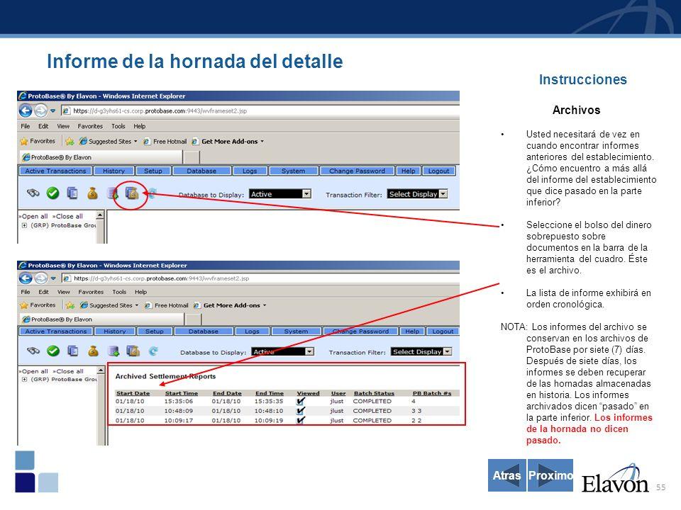55 Instrucciones Archivos Usted necesitará de vez en cuando encontrar informes anteriores del establecimiento.