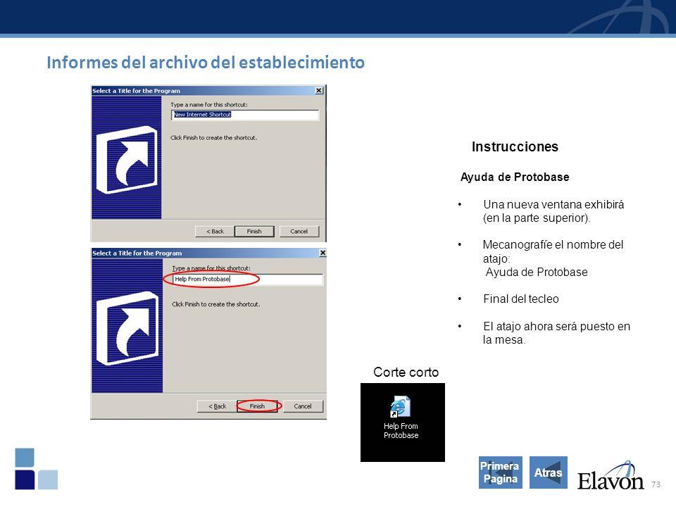 73 Informes del archivo del establecimiento Atras Instrucciones Ayuda de Protobase Una nueva ventana exhibirá (en la parte superior).