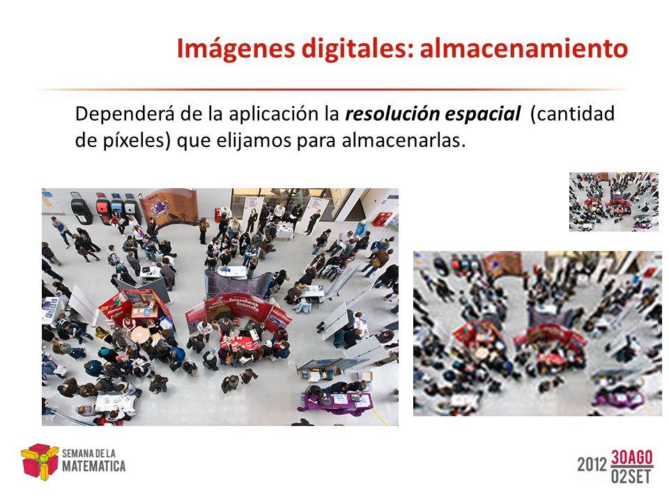 Imágenes digitales: almacenamiento Dependerá de la aplicación la resolución espacial (cantidad de píxeles) que elijamos para almacenarlas.