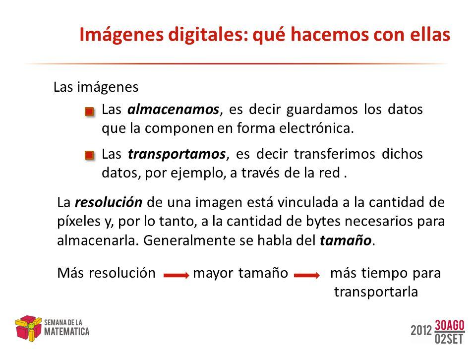 Imágenes digitales: qué hacemos con ellas Las imágenes Las transportamos, es decir transferimos dichos datos, por ejemplo, a través de la red. Las alm