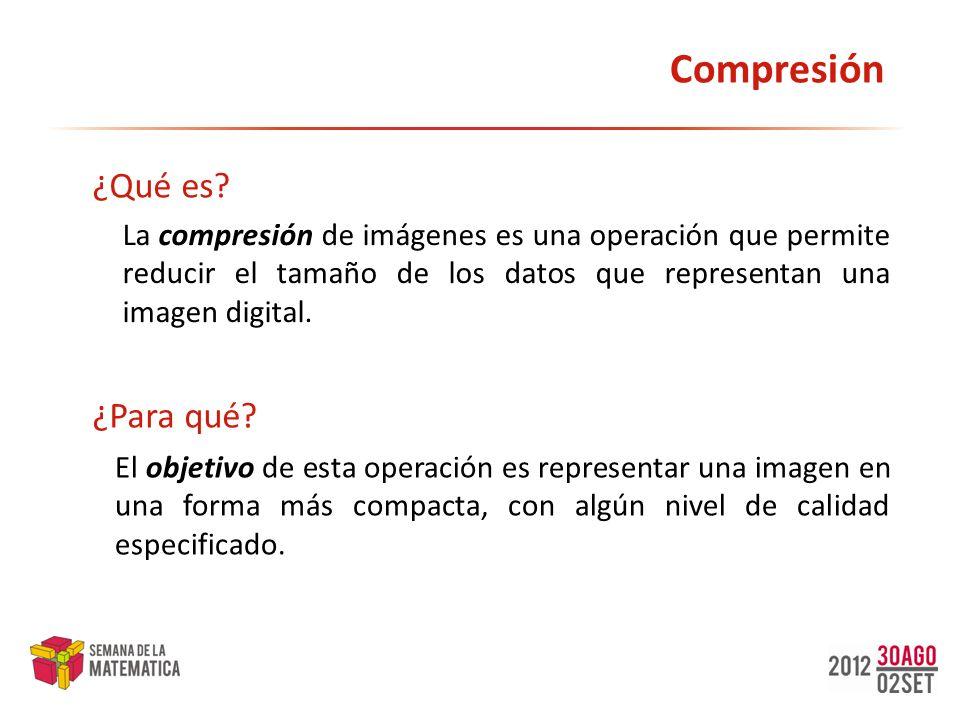 Compresión La compresión de imágenes es una operación que permite reducir el tamaño de los datos que representan una imagen digital. ¿Qué es? El objet