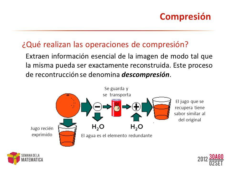 Compresión Extraen información esencial de la imagen de modo tal que la misma pueda ser exactamente reconstruida. Este proceso de recontrucción se den