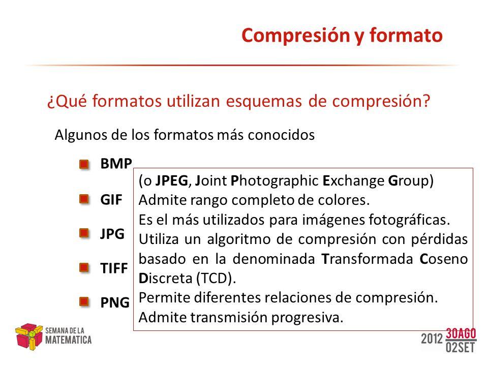 Compresión y formato ¿Qué formatos utilizan esquemas de compresión? BMP JPG GIF TIFF Algunos de los formatos más conocidos (o JPEG, Joint Photographic
