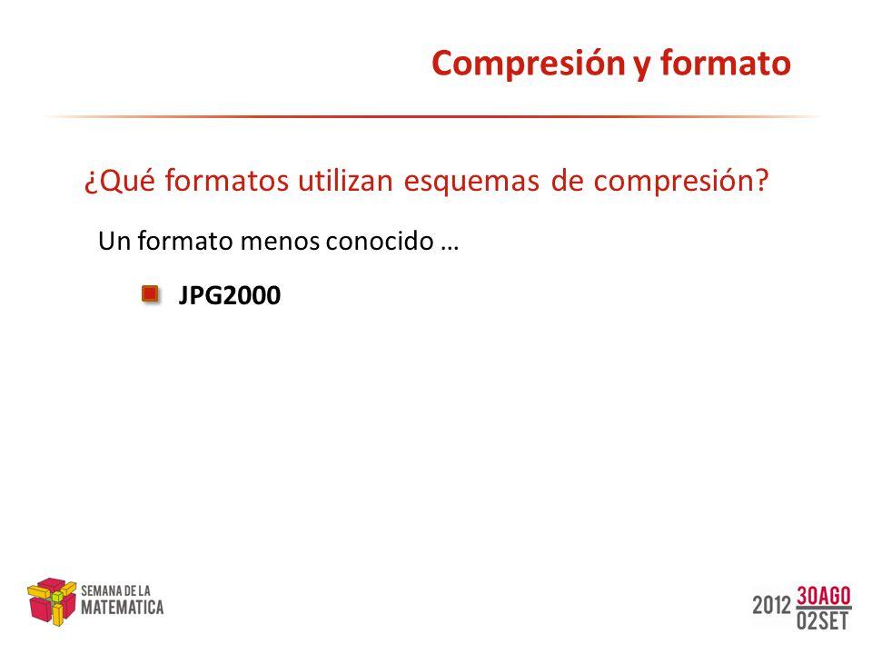 Compresión y formato ¿Qué formatos utilizan esquemas de compresión? JPG2000 Un formato menos conocido …