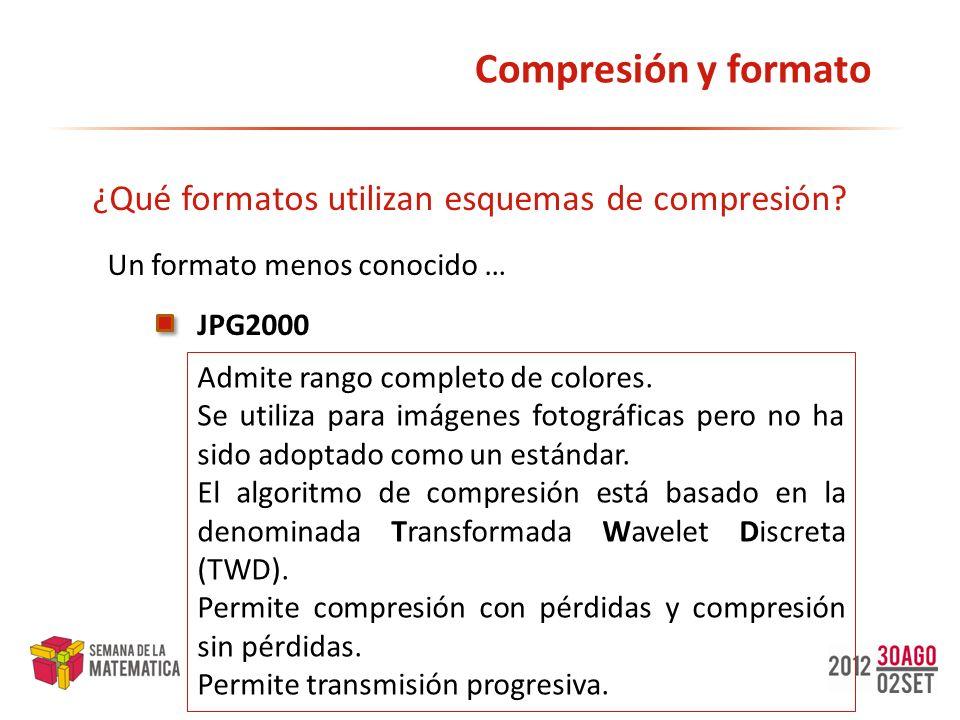 Compresión y formato ¿Qué formatos utilizan esquemas de compresión? JPG2000 Un formato menos conocido … Admite rango completo de colores. Se utiliza p