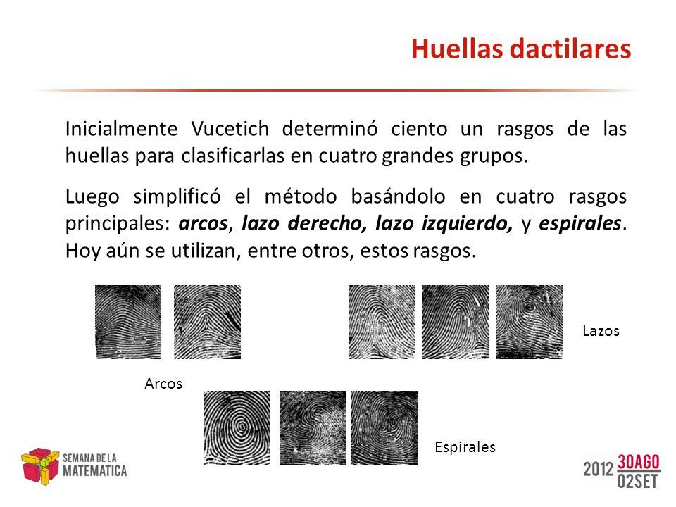 Huellas dactilares Inicialmente Vucetich determinó ciento un rasgos de las huellas para clasificarlas en cuatro grandes grupos. Luego simplificó el mé