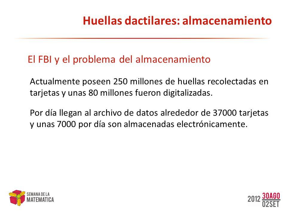 Huellas dactilares: almacenamiento Actualmente poseen 250 millones de huellas recolectadas en tarjetas y unas 80 millones fueron digitalizadas. El FBI