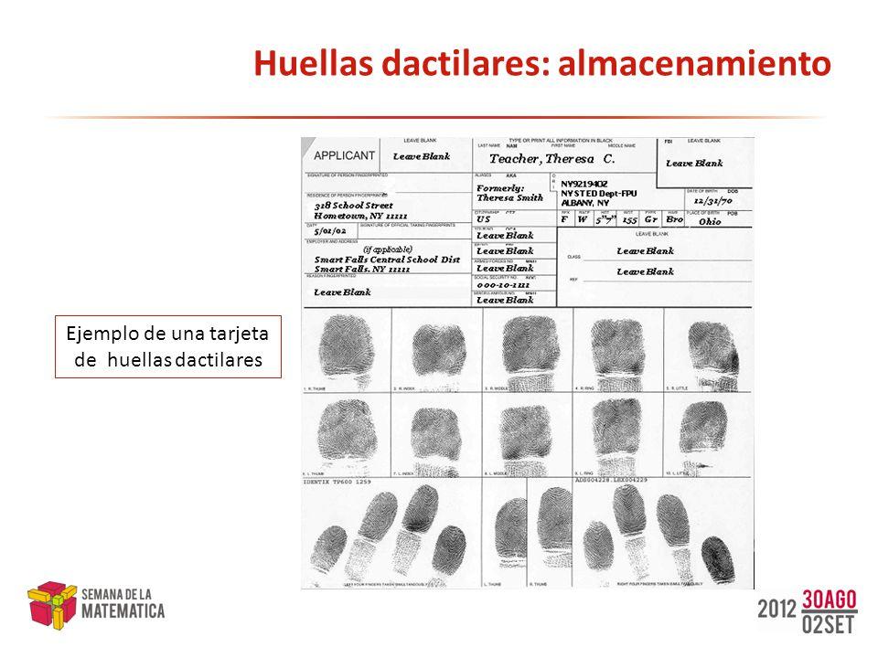 Huellas dactilares: almacenamiento Ejemplo de una tarjeta de huellas dactilares