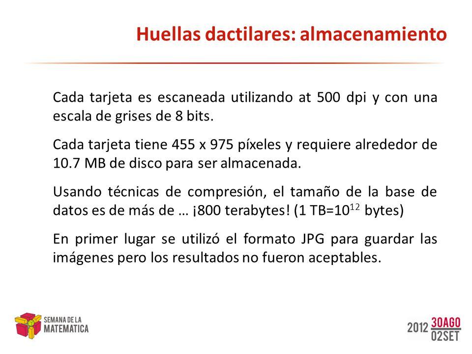 Huellas dactilares: almacenamiento Cada tarjeta es escaneada utilizando at 500 dpi y con una escala de grises de 8 bits. Cada tarjeta tiene 455 x 975