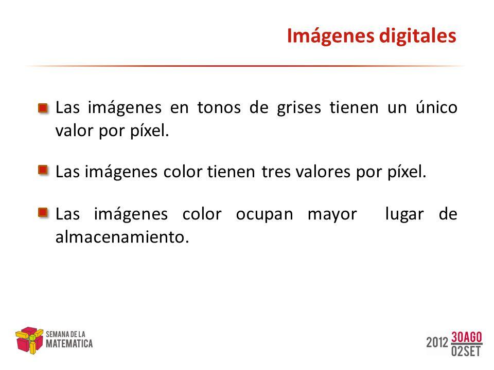 Imágenes digitales Las imágenes en tonos de grises tienen un único valor por píxel. Las imágenes color tienen tres valores por píxel. Las imágenes col