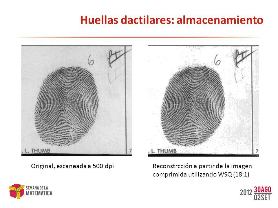Huellas dactilares: almacenamiento Original, escaneada a 500 dpiReconstrcción a partir de la imagen comprimida utilizando WSQ (18:1)
