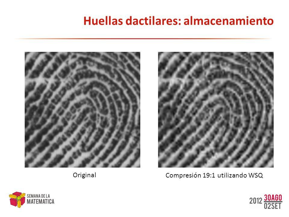Huellas dactilares: almacenamiento Original Compresión 19:1 utilizando WSQ