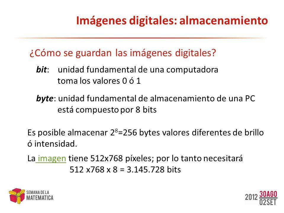 Imágenes digitales: almacenamiento ¿Cómo se guardan las imágenes digitales? bit: unidad fundamental de una computadora toma los valores 0 ó 1 byte: un