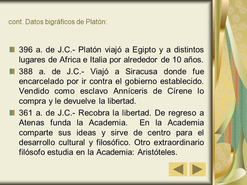 cont.Datos bigráficos de Platón: 396 a.