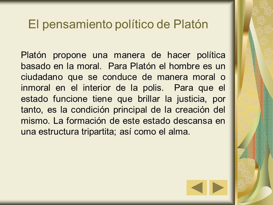El pensamiento político de Platón Platón propone una manera de hacer política basado en la moral. Para Platón el hombre es un ciudadano que se conduce