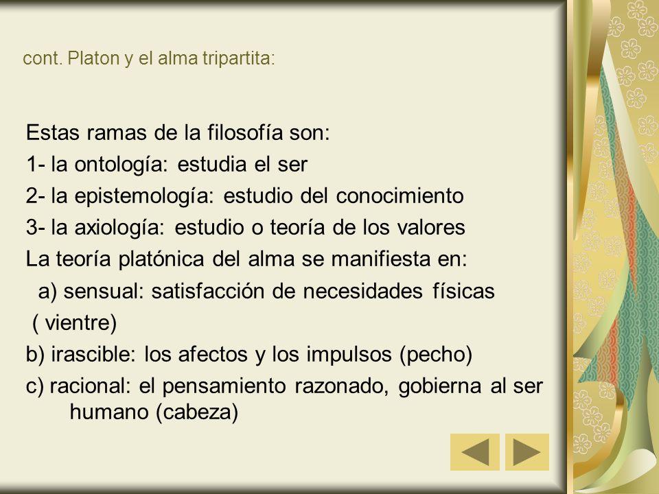 cont. Platon y el alma tripartita: Estas ramas de la filosofía son: 1- la ontología: estudia el ser 2- la epistemología: estudio del conocimiento 3- l