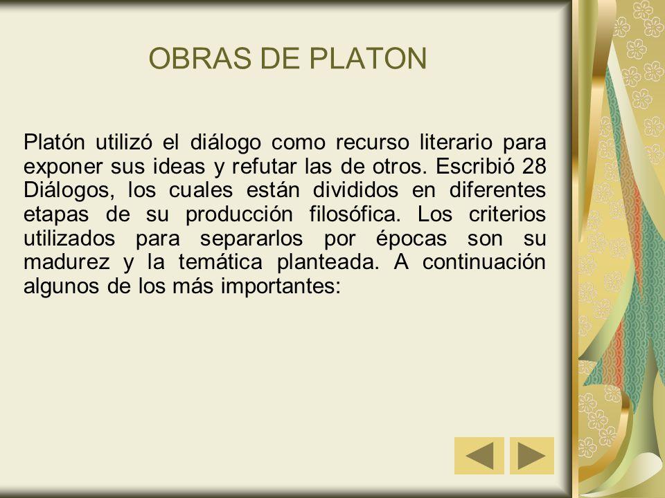 OBRAS DE PLATON Platón utilizó el diálogo como recurso literario para exponer sus ideas y refutar las de otros. Escribió 28 Diálogos, los cuales están