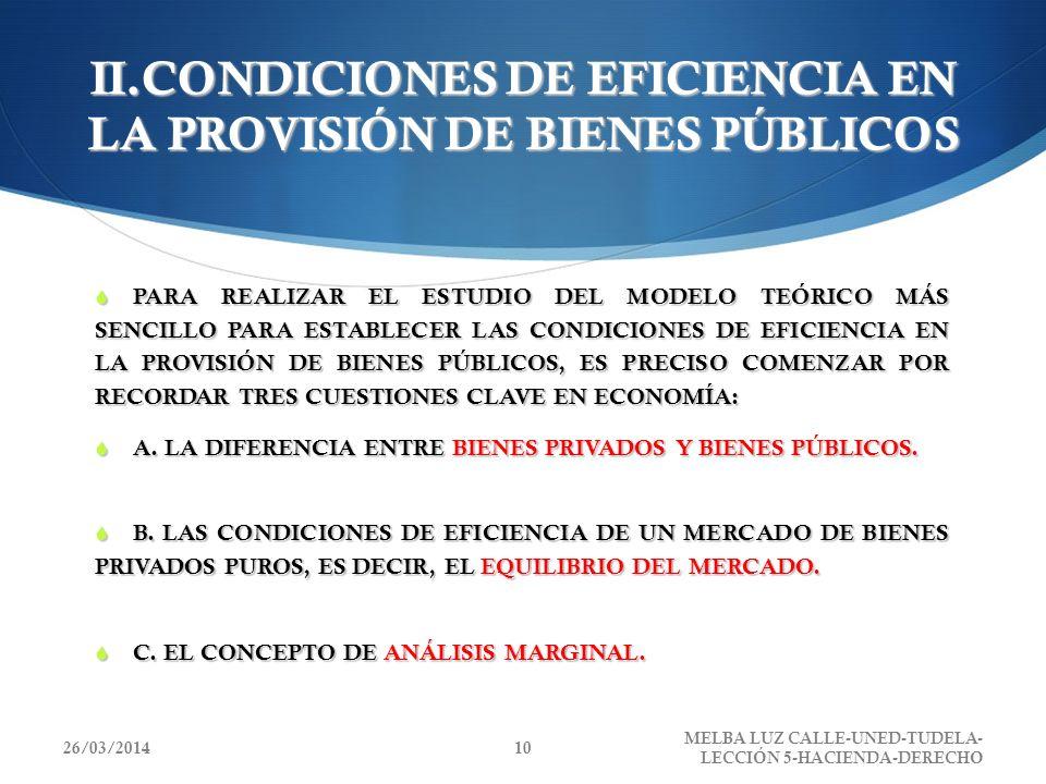 II.CONDICIONES DE EFICIENCIA EN LA PROVISIÓN DE BIENES PÚBLICOS PARA REALIZAR EL ESTUDIO DEL MODELO TEÓRICO MÁS SENCILLO PARA ESTABLECER LAS CONDICION