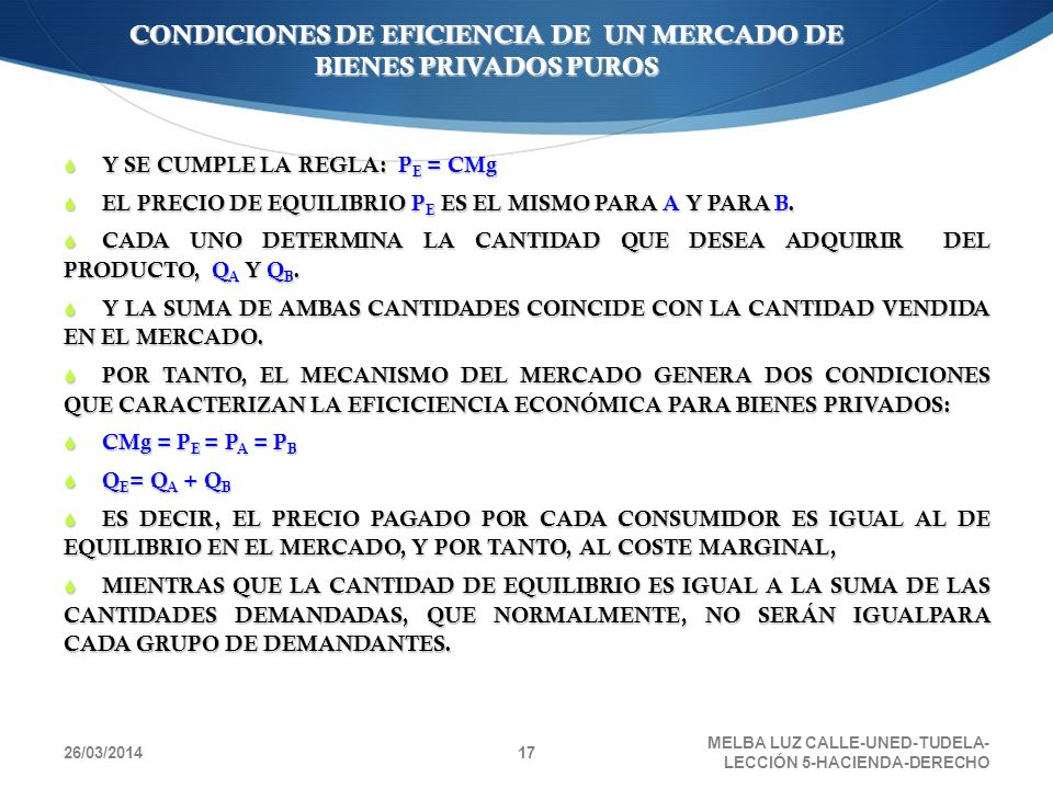 26/03/2014 MELBA LUZ CALLE-UNED-TUDELA- LECCIÓN 5-HACIENDA-DERECHO 17 CONDICIONES DE EFICIENCIA DE UN MERCADO DE BIENES PRIVADOS PUROS Y SE CUMPLE LA