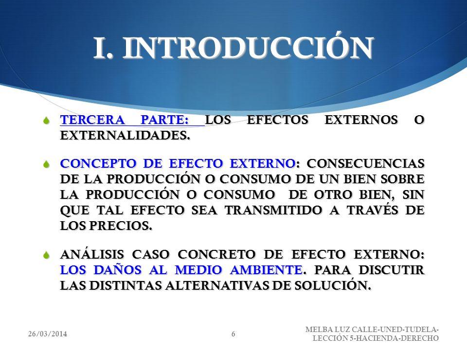 I. INTRODUCCIÓN TERCERA PARTE: LOS EFECTOS EXTERNOS O EXTERNALIDADES. TERCERA PARTE: LOS EFECTOS EXTERNOS O EXTERNALIDADES. CONCEPTO DE EFECTO EXTERNO