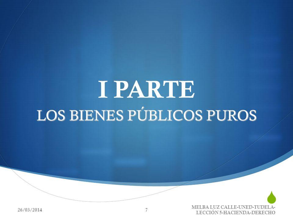 I PARTE LOS BIENES PÚBLICOS PUROS 26/03/2014 MELBA LUZ CALLE-UNED-TUDELA- LECCIÓN 5-HACIENDA-DERECHO 7
