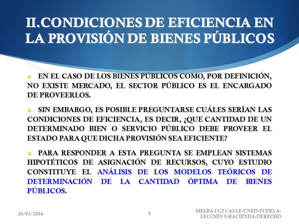 II.CONDICIONES DE EFICIENCIA EN LA PROVISIÓN DE BIENES PÚBLICOS EN EL CASO DE LOS BIENES PÚBLICOS COMO, POR DEFINICIÓN, NO EXISTE MERCADO, EL SECTOR P
