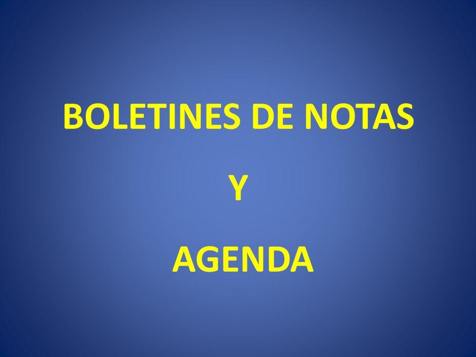 BOLETINES DE NOTAS Y AGENDA