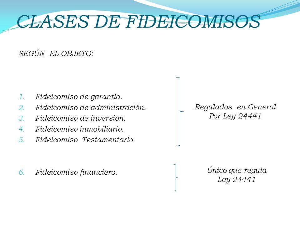 SEGÚN EL OBJETO: 1. Fideicomiso de garantía. 2. Fideicomiso de administración. 3. Fideicomiso de inversión. 4. Fideicomiso inmobiliario. 5. Fideicomis