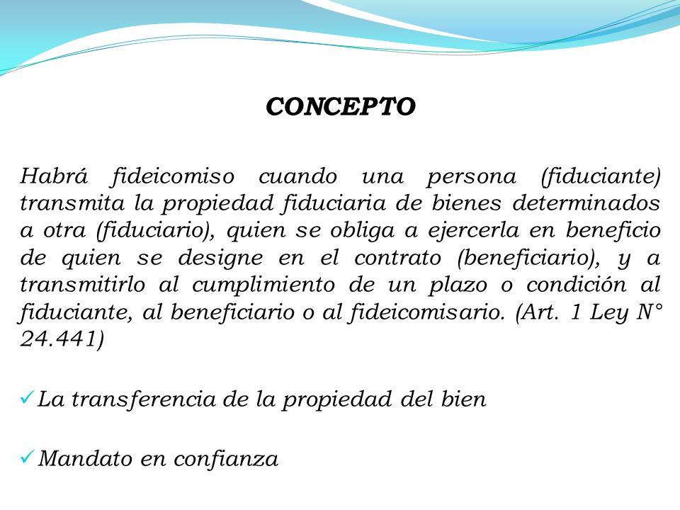 CONCEPTO Habrá fideicomiso cuando una persona (fiduciante) transmita la propiedad fiduciaria de bienes determinados a otra (fiduciario), quien se obli