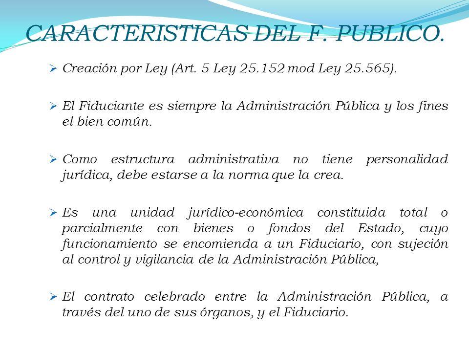 CARACTERISTICAS DEL F. PUBLICO. Creación por Ley (Art. 5 Ley 25.152 mod Ley 25.565). El Fiduciante es siempre la Administración Pública y los fines el
