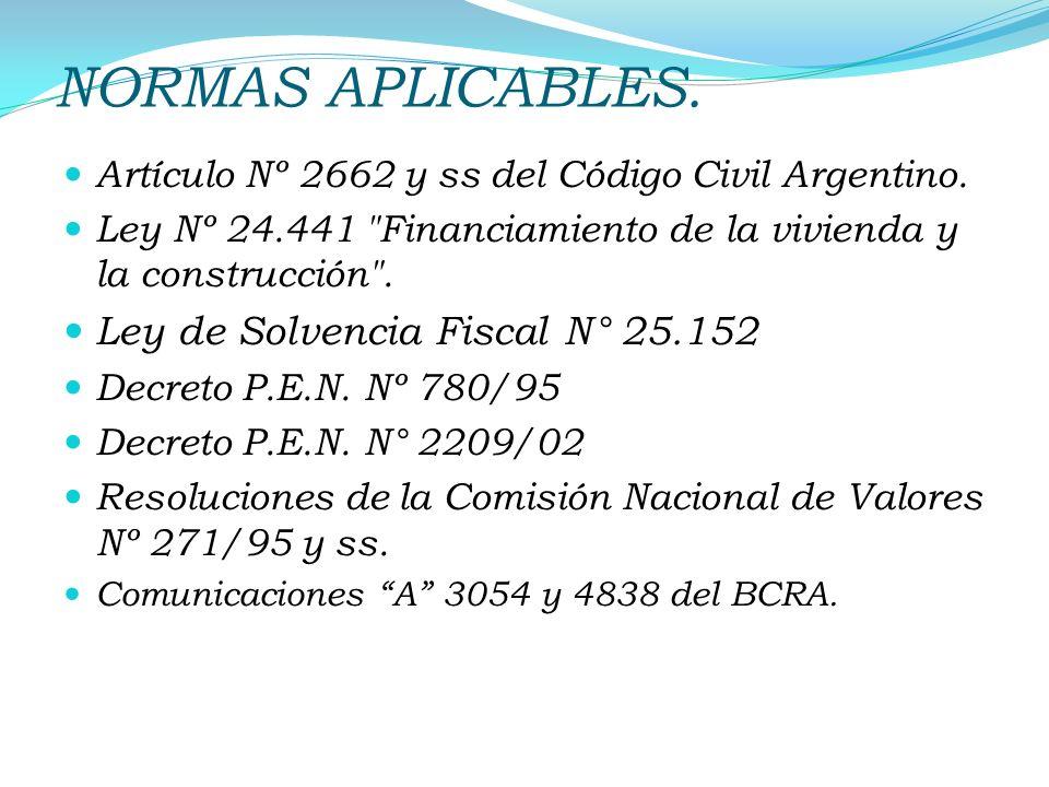 NORMAS APLICABLES. Artículo Nº 2662 y ss del Código Civil Argentino. Ley Nº 24.441