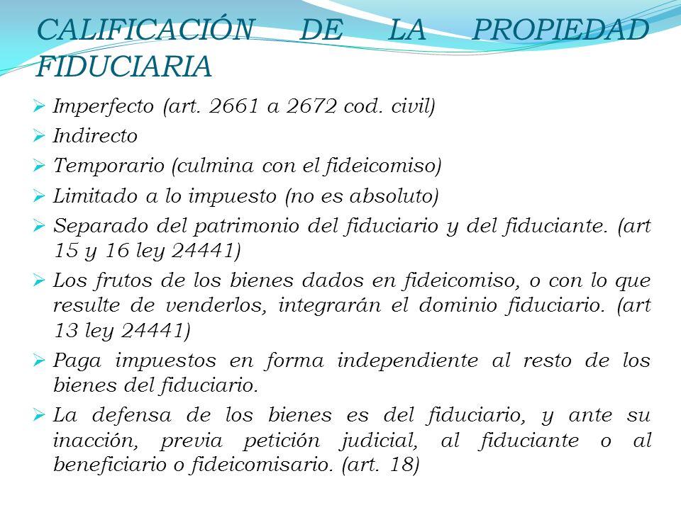 CALIFICACIÓN DE LA PROPIEDAD FIDUCIARIA Imperfecto (art. 2661 a 2672 cod. civil) Indirecto Temporario (culmina con el fideicomiso) Limitado a lo impue
