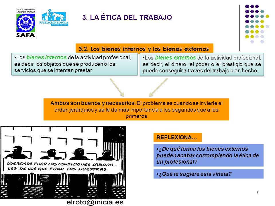 3.2. Los bienes internos y los bienes externos 3. LA ÉTICA DEL TRABAJO Los bienes internos de la actividad profesional, es decir, los objetos que se p
