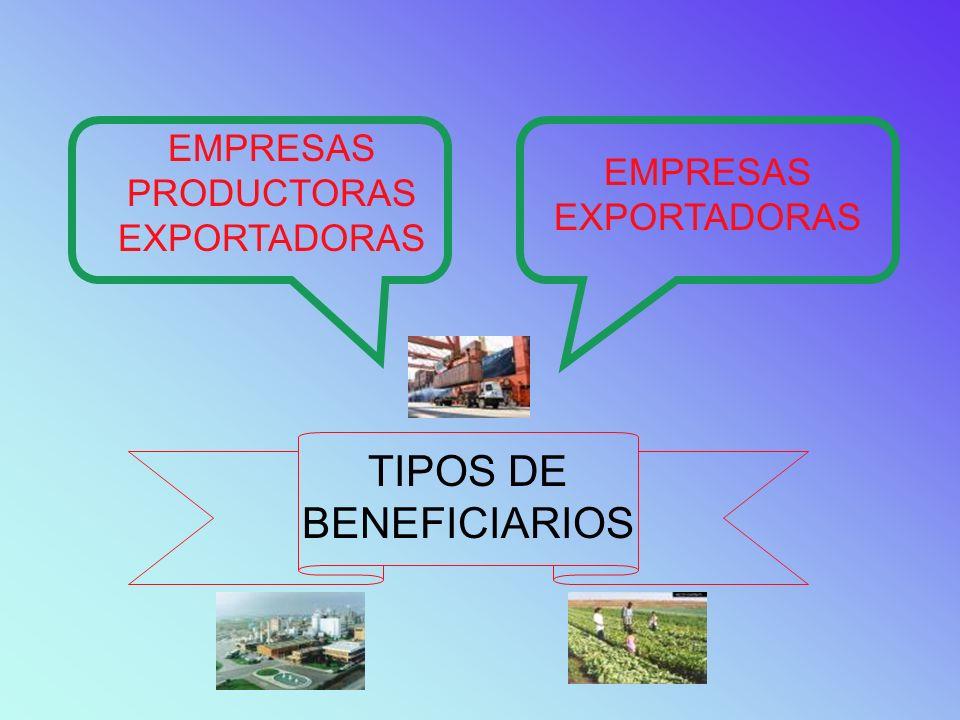 TIPOS DE BENEFICIARIOS EMPRESAS PRODUCTORAS EXPORTADORAS EMPRESAS EXPORTADORAS
