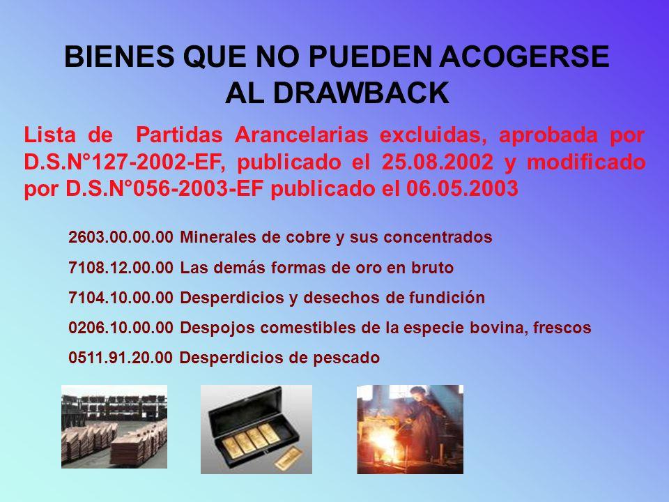BIENES QUE NO PUEDEN ACOGERSE AL DRAWBACK Lista de Partidas Arancelarias excluidas, aprobada por D.S.N°127-2002-EF, publicado el 25.08.2002 y modifica