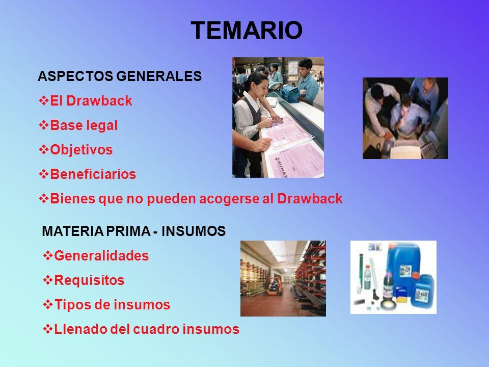 TEMARIO ASPECTOS GENERALES El Drawback Base legal Objetivos Beneficiarios Bienes que no pueden acogerse al Drawback MATERIA PRIMA - INSUMOS Generalida