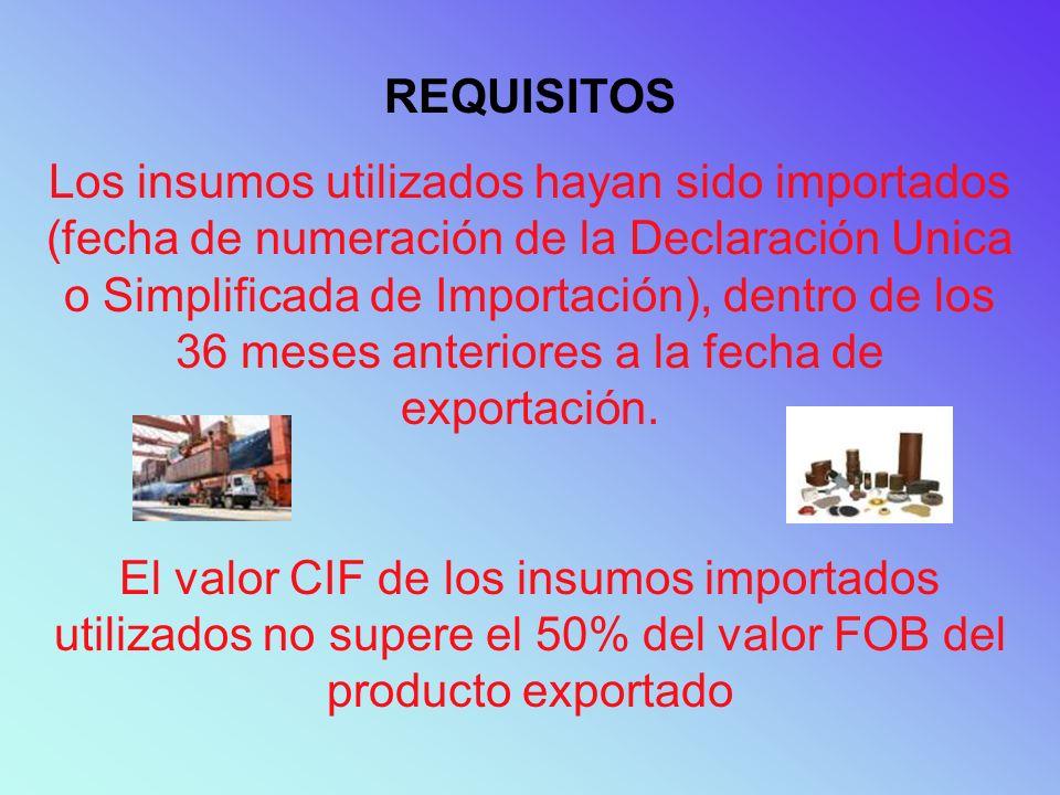 REQUISITOS Los insumos utilizados hayan sido importados (fecha de numeración de la Declaración Unica o Simplificada de Importación), dentro de los 36