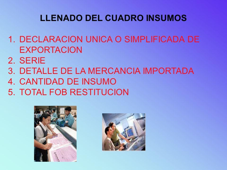 LLENADO DEL CUADRO INSUMOS 1.DECLARACION UNICA O SIMPLIFICADA DE EXPORTACION 2.SERIE 3.DETALLE DE LA MERCANCIA IMPORTADA 4.CANTIDAD DE INSUMO 5.TOTAL