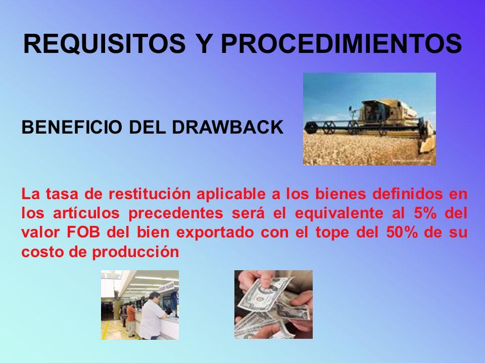REQUISITOS Y PROCEDIMIENTOS BENEFICIO DEL DRAWBACK La tasa de restitución aplicable a los bienes definidos en los artículos precedentes será el equiva