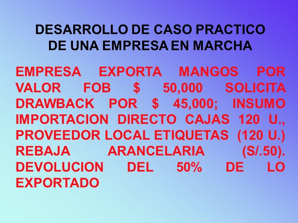 DESARROLLO DE CASO PRACTICO DE UNA EMPRESA EN MARCHA EMPRESA EXPORTA MANGOS POR VALOR FOB $ 50,000 SOLICITA DRAWBACK POR $ 45,000; INSUMO IMPORTACION