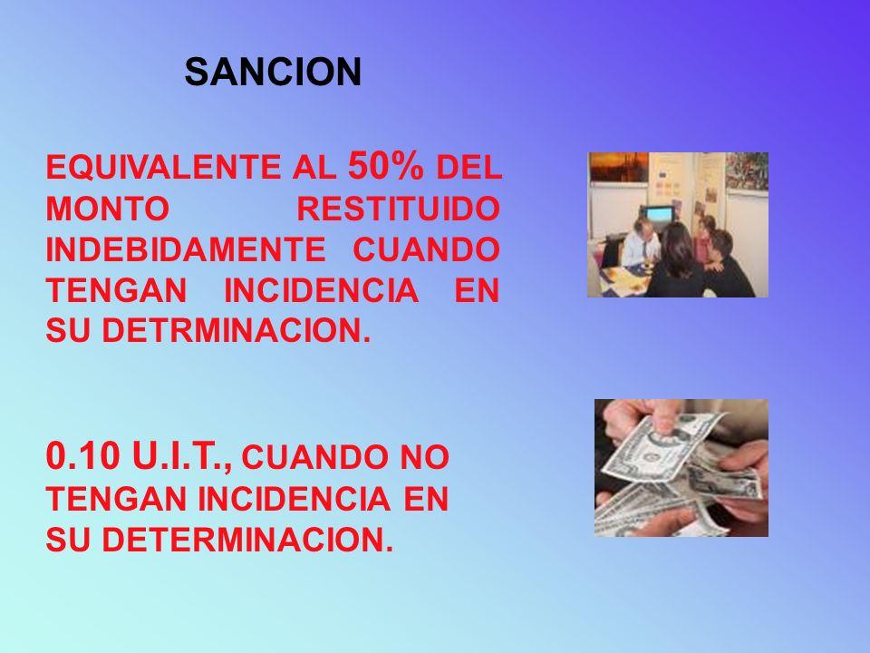 SANCION EQUIVALENTE AL 50% DEL MONTO RESTITUIDO INDEBIDAMENTE CUANDO TENGAN INCIDENCIA EN SU DETRMINACION. 0.10 U.I.T., CUANDO NO TENGAN INCIDENCIA EN