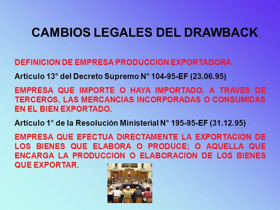 CAMBIOS LEGALES DEL DRAWBACK DEFINICION DE EMPRESA PRODUCCION EXPORTADORA Artículo 13° del Decreto Supremo N° 104-95-EF (23.06.95) EMPRESA QUE IMPORTE
